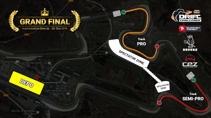 Mapa areálu při Czech Drift Series